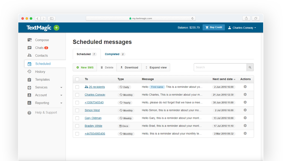 Image: Schedule text messages interface overview page