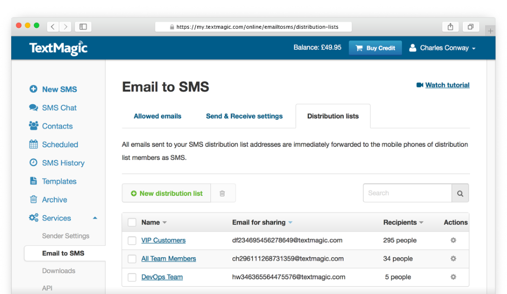 Image: SMS distribution lists settings - forward emails as texts with SMS distribution list