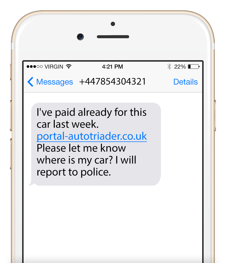 Phishing text message example nr 3