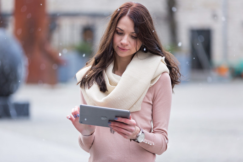 Beautiful Woman Using iPad