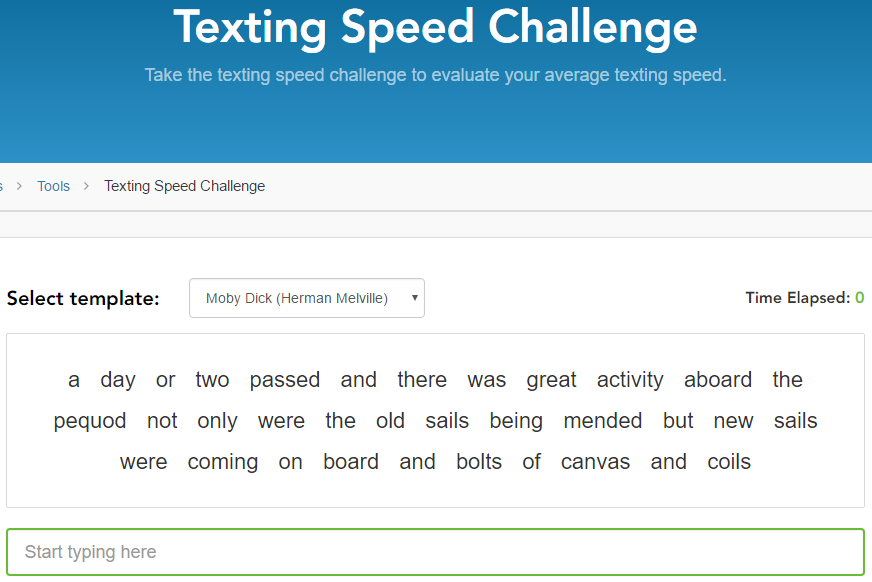 Texting Speed Challenge Tool - how fast can you send SMS messages from your phone?