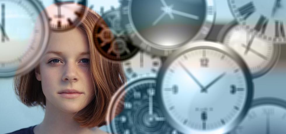 Woman and clocks