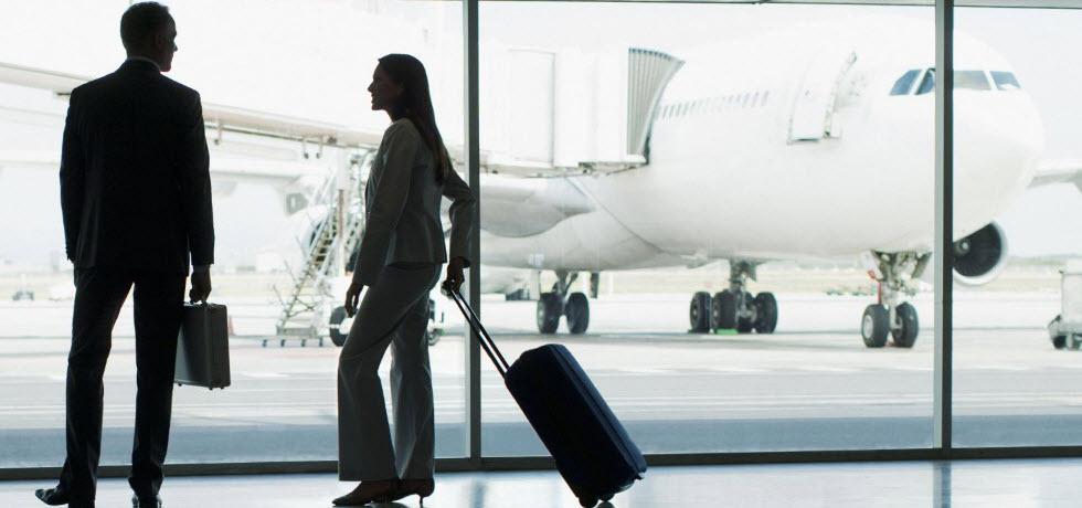 Man and woman  at airport