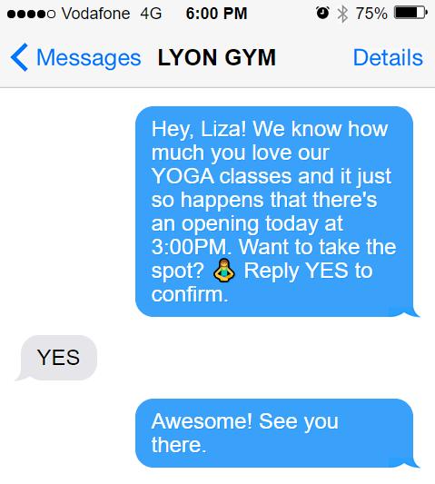 Yoga class GYM SMS template