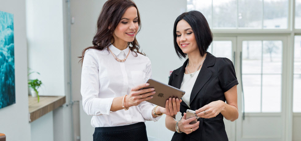 Womans checking SMS marketing campaign