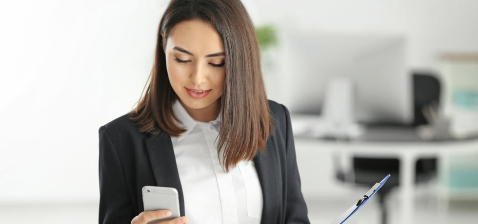 Lawyer reading text message