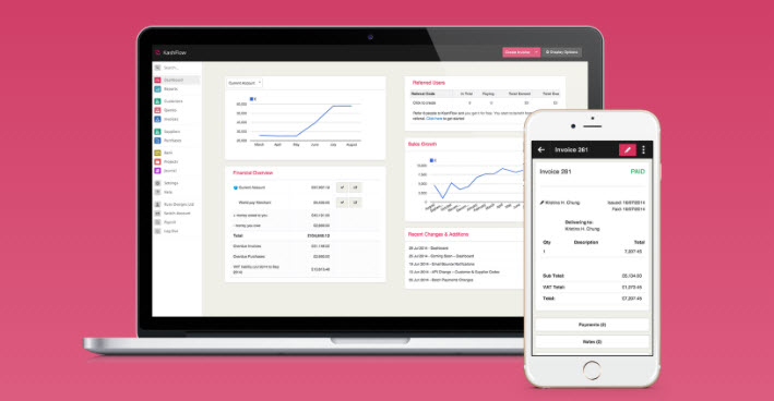 KashFlow accounting app in desktop and smartphone