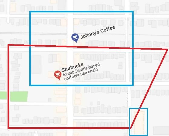 Johnny`s Coffee and Starbucks geofencing areas on Google map