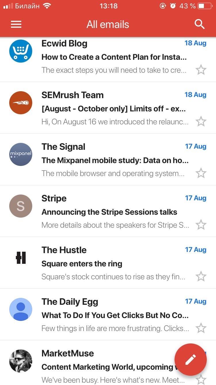 Emails in IPhone 6