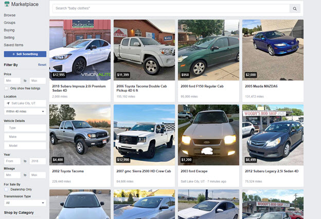Facebook car marketplace
