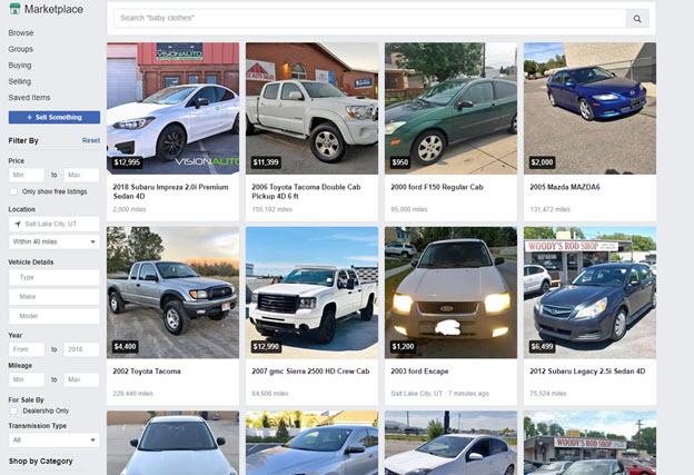 Facebook car marketplace