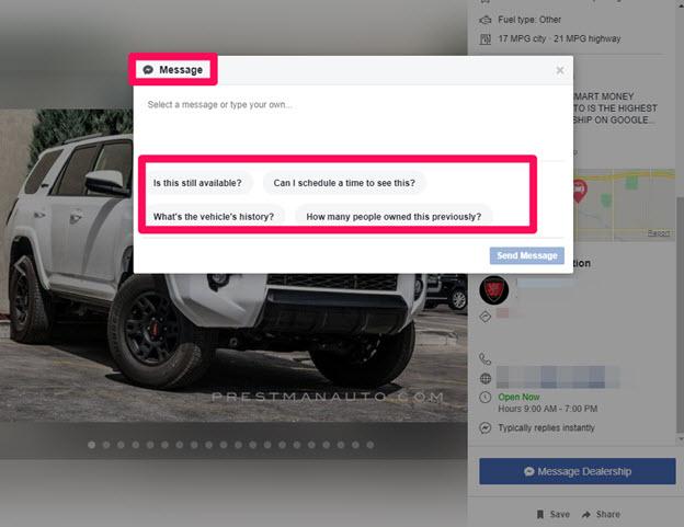 Facebook marketplace message