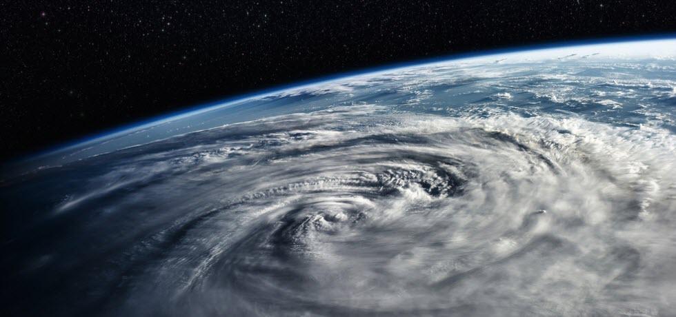 Typhoon over planet Earth