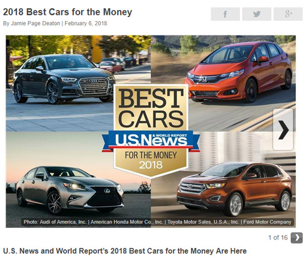 U.S.News, 2018 best cars for the money