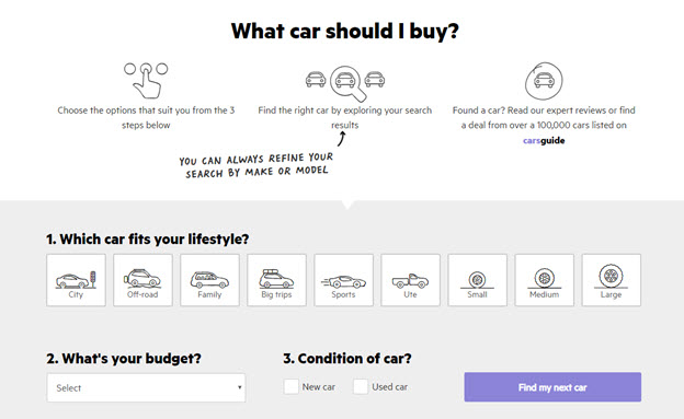 What car should I buy landing page
