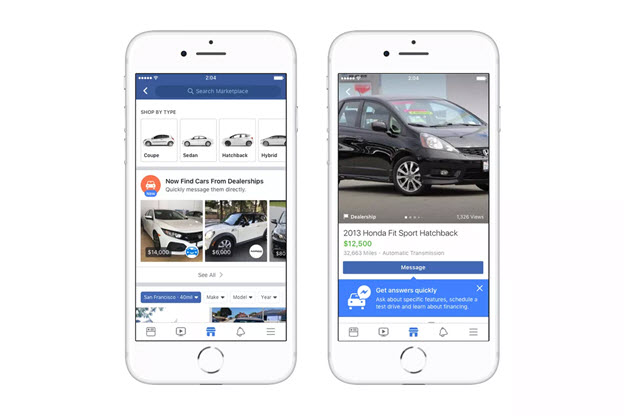 car marketplace on facebook messenger platform