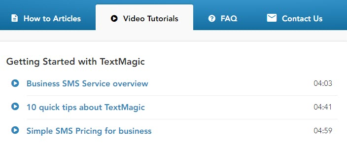 TextMagic video tutorials page