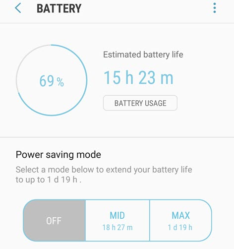 How to select power saving mode in Android phone
