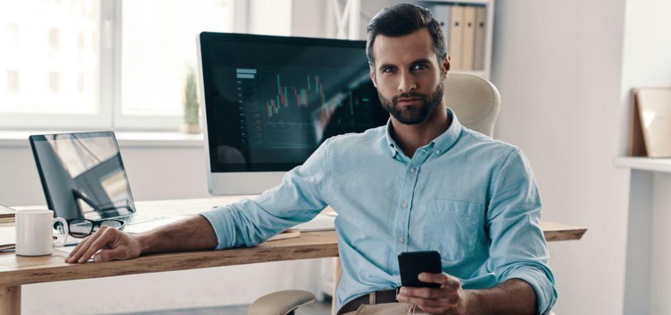 businessman writing a business text message