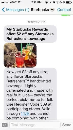 Starbucks MMS offer