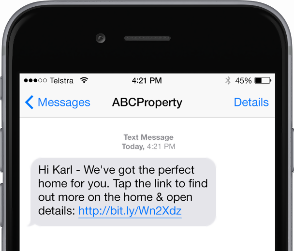 Text message from rental agent