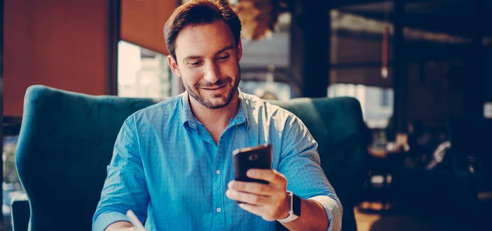 A man reading text message