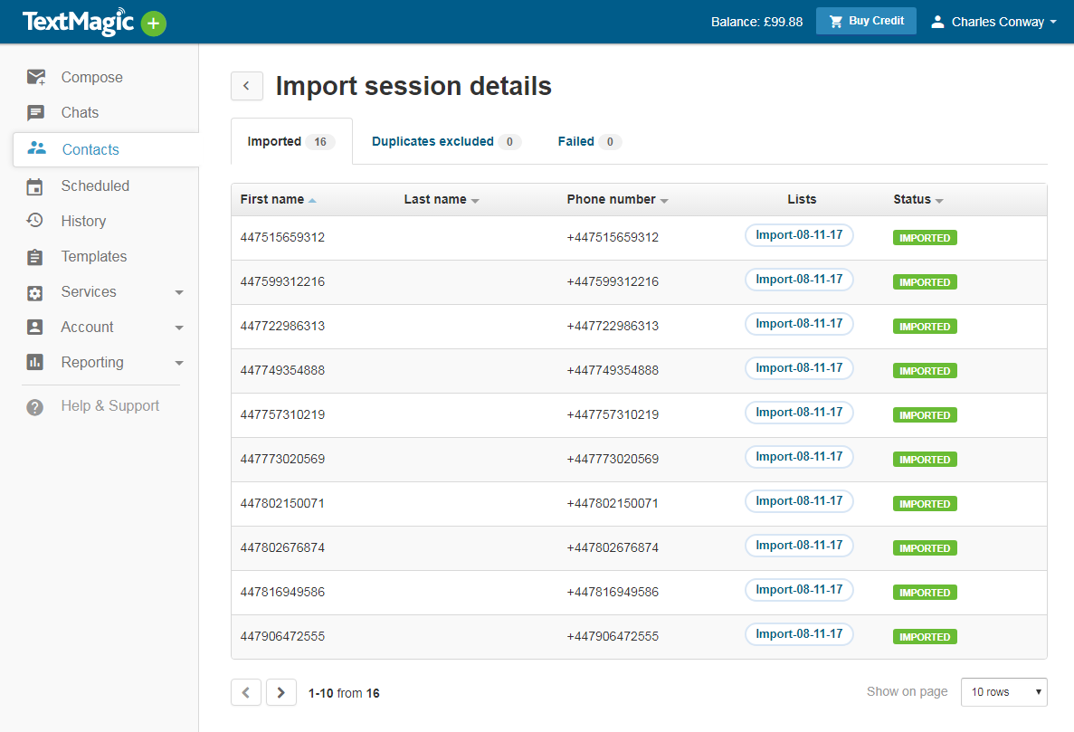Contacts import session details