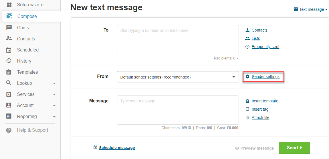 New text message sender settings
