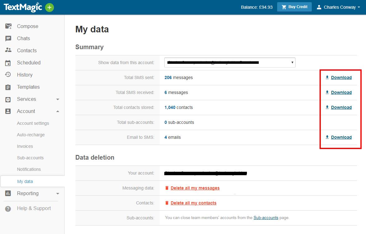 TextMagic My data summary screenshot
