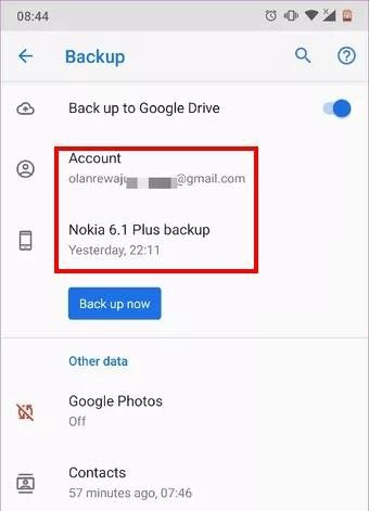 the screen of back up to google drive