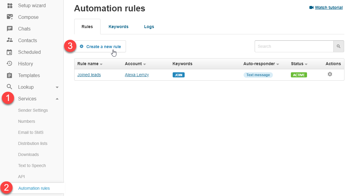 Creating rule filters in textmagic webapp