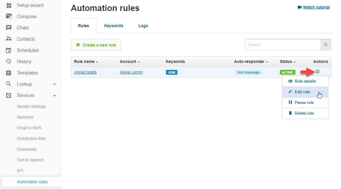 Editing automation rules in textmagic web app
