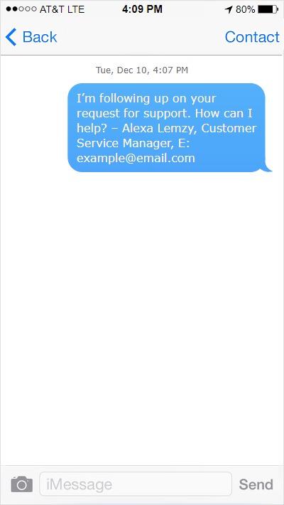Text message template sent by TextMagic