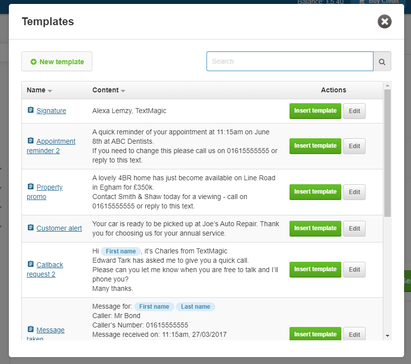 TextMagic web app templates