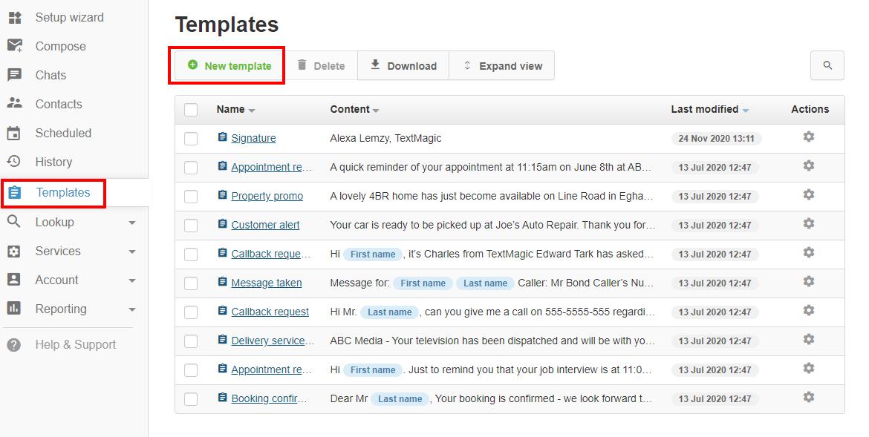 textmagic webapp templates