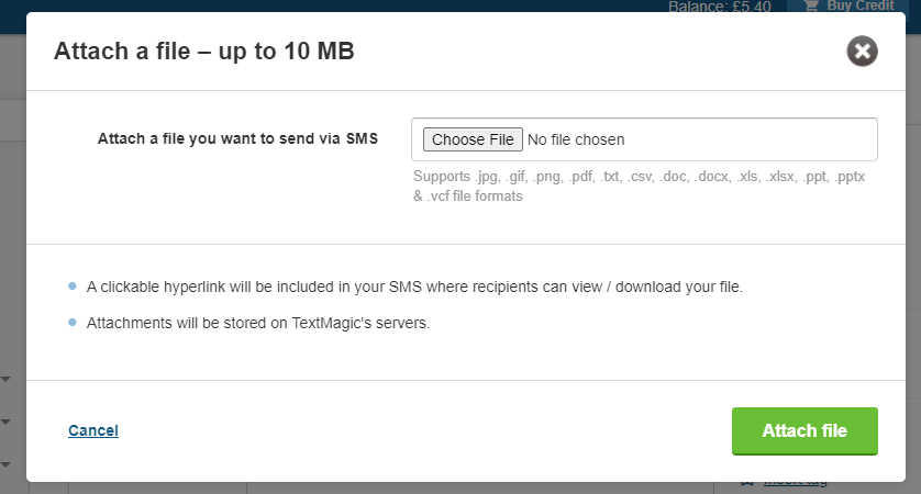 Attach a file you want to send via SMS