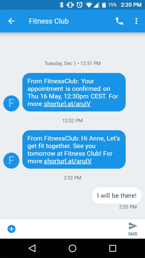 fitness club appointment confirmation SMS