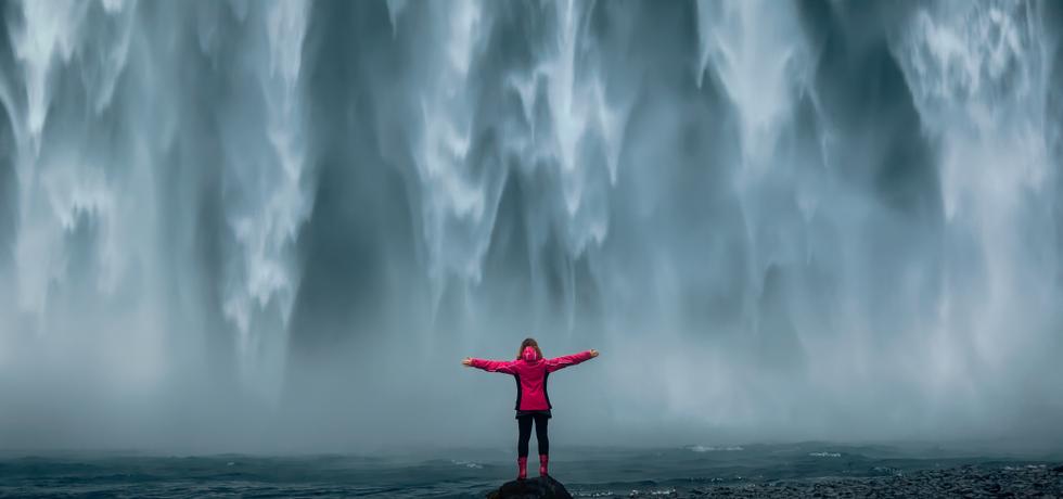 Iceland waterfall like a text blast